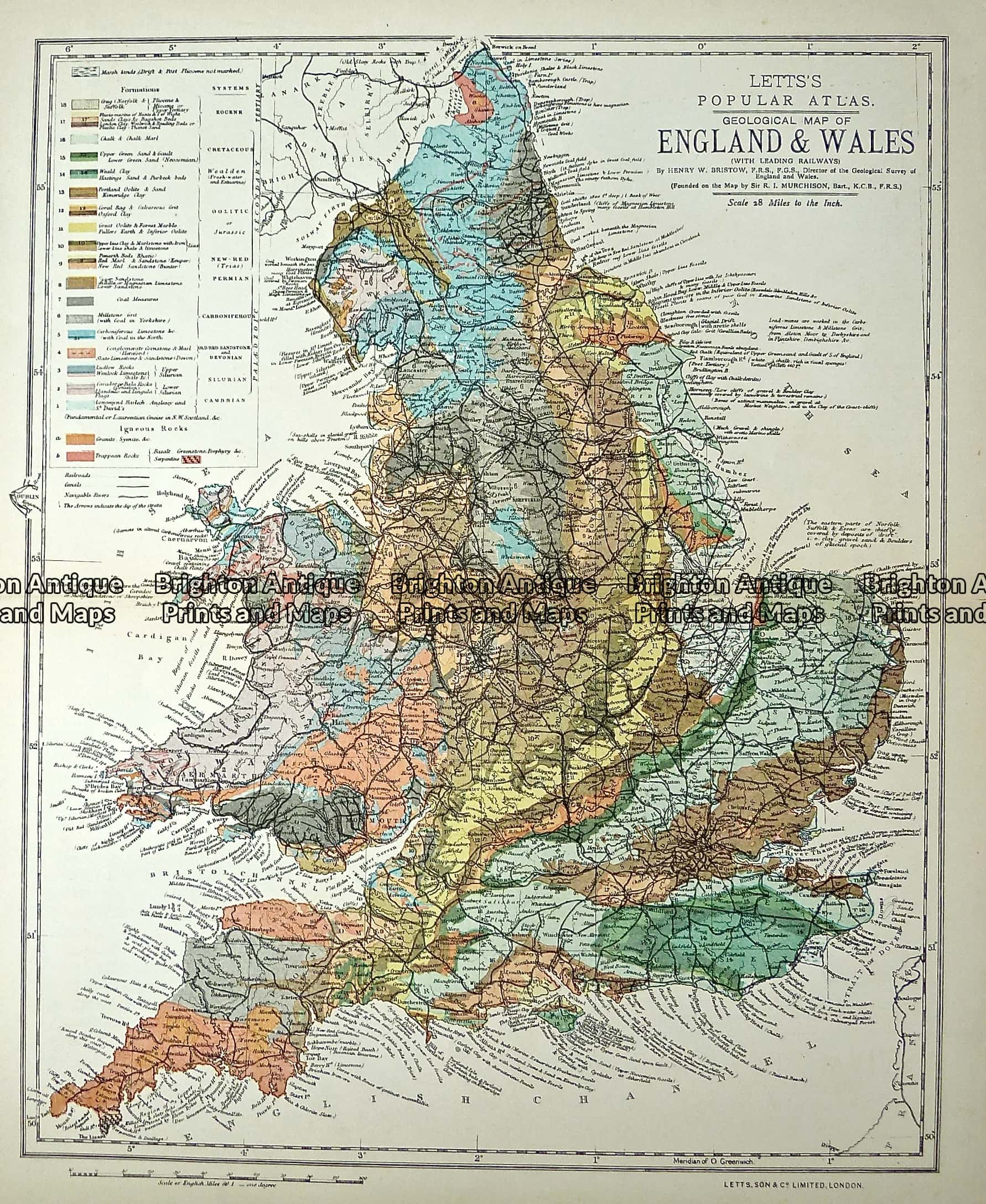 Map Of England Brighton.Antique Map 233 365 Geological Map Of England And Wales By Letts C 1880 Brighton Antique Prints And Maps Shop Buy Now
