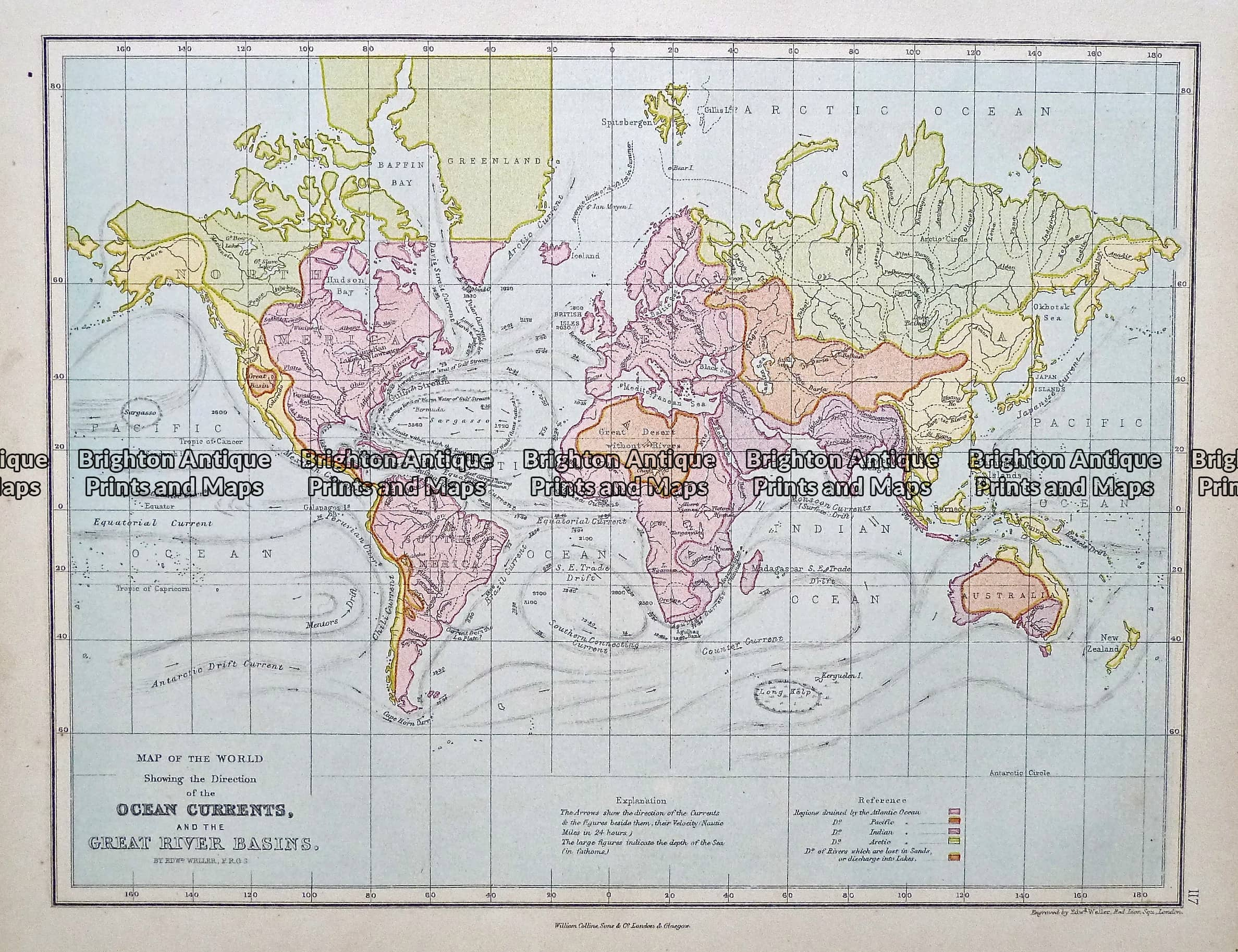 Antique Map 233 393 World Showing Ocean Currents By Weller C 1874