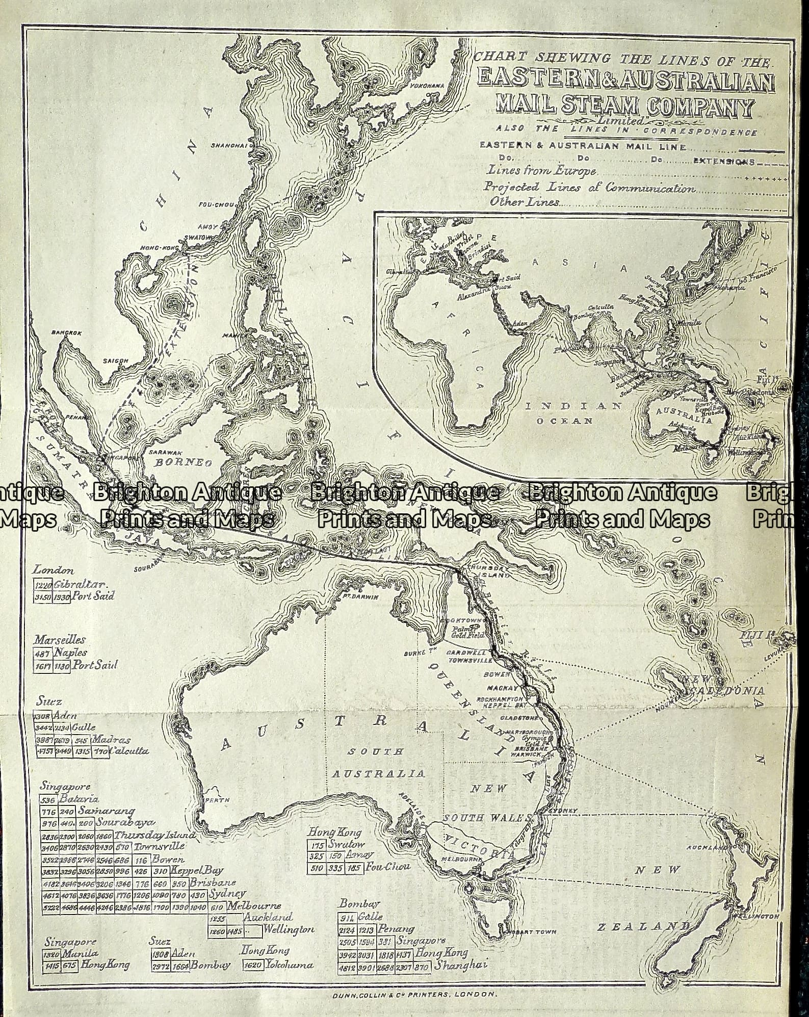 Map Eastern Australia.Antique Map Eastern Australian Mail Line C 1890 Ref 232 892 Brighton Antique Prints And Maps Shop Buy Now